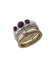 Lucky Brand Modern Shine Two Tone Red Jade Stack Rings