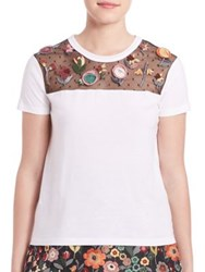 Red Valentino Floral Applique T Shirt White
