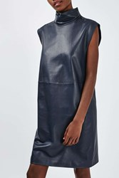 Boutique Leather Funnel Dress By Navy Blue