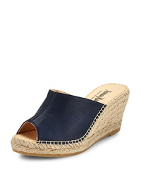 Neiman Marcus Made In Spain Penelope Open Toe Wedge Sandal Navy