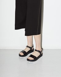 Jil Sander Teeth Platform Sandal Nero And Fondo Bianco