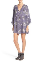 Lush Women's 'Whitney' Bell Sleeve Woven Shift Dress Lilac Floral