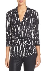 Women's Vince Camuto Ruched Print V Neck Top Rich Black