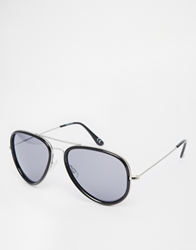 Asos Plastic And Metal Aviator Sunglasses Black