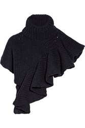3.1 Phillip Lim Ruffled Wool Blend Turtleneck Sweater Blue
