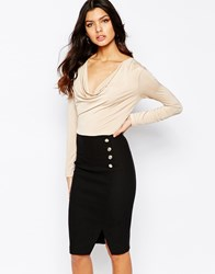 Vesper Long Sleeved Pencil Dress With Cowl Neck And Button Details Camelblack