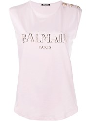 Balmain Logo Print Tank Top Pink And Purple