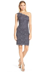 Morgan Co. One Shoulder Glitter Lace Body Con Dress Charcoal