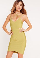 Missguided Premium Cross Strap Detail Bandage Bodycon Dress Green Yellow