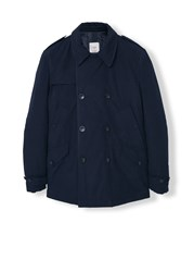 Mango Cotton Quilted Trench Navy