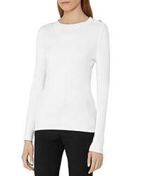 Reiss Megana Button Detail Sweater White