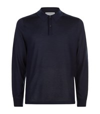 Gieves And Hawkes Cashmere Blend Polo Sweater Male Navy