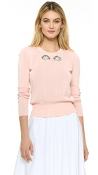 Rochas Sweater With Embroidered Eyes Light Beige