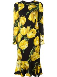 Dolce And Gabbana Tulip Print Fitted Dress Black