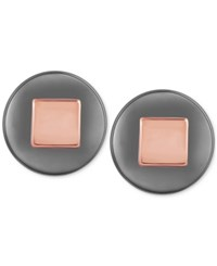 T Tahari Hematite Tone Round Stud Earrings