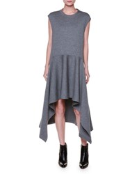 Marni Cap Sleeve Wool Jersey High Low Dress Light Gray Light Grey
