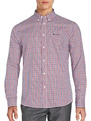 Ben Sherman Cotton Blend Checkered Long Sleeve Shirt