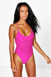 Boohoo Marino Lazer Cut Cross Back Swimsuit Purple