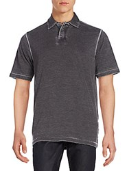 Saks Fifth Avenue Burnout Polo Shirt Black