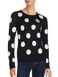 Saks Fifth Avenue Red Polka Dot Intarsia Sweater Black Ivory