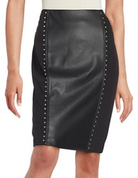 Karl Lagerfeld Studded Faux Leather Trimmed Pencil Skirt Black