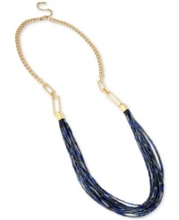 Kenneth Cole New York Gold Tone Long Multi Beaded Statement Necklace