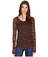 Rock And Roll Cowgirl Long Sleeve Tee 48T9197 Chocolate Women's T Shirt Brown