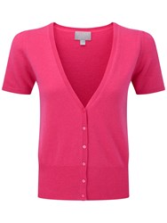 Pure Collection Eardley Cashmere Short Sleeve Cardigan Sunset Pink