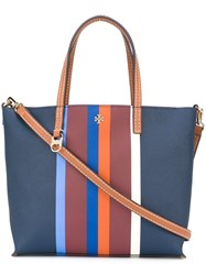 Tory Burch Small 'Kerrington Stripe' Tote Bag Blue