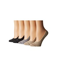 Steve Madden 5 Pack Marl Footie Black Marl Women's Crew Cut Socks Shoes Gray
