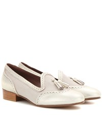 Tabitha Simmons Billie Leather Trimmed Fabric Loafers Gold