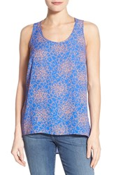 Women's Halogen Scoop Neck Woven Tank Blue Coral Rings Print