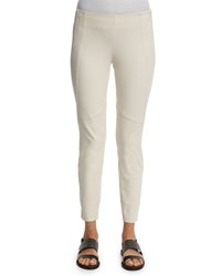 Brunello Cucinelli Mid Rise Side Zip Leggings Vanilla White