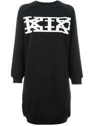 Ktz Logo Print Sweatshirt Dress Black