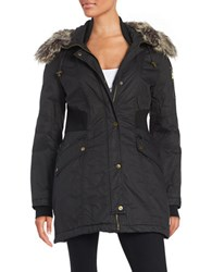 French Connection Faux Fur Trimmed Bomber Parka Black