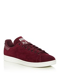 Adidas Stan Smith Reflective Heel Lace Up Sneakers Red