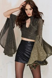 Nasty Gal Anita Bell Sleeve Crop Top Gold
