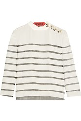 Ronald Van Der Kemp Mesh Paneled Silk Top White