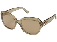 Michael Kors Tabitha Iii Taupe Glitter Rose Gold Flash Fashion Sunglasses Beige
