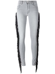 Don't Cry Fringed Skinny Jeans Grey