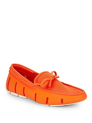 Swims Perforated Lace Up Loafers Orange