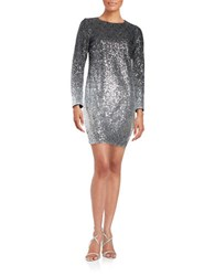 Maia Sequined Ombre Shift Dress Silver