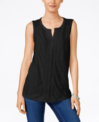 Styleandco. Style Co. Petite Crochet Trim Top Only At Macy's Deep Black