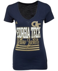 Adidas Women's Georgia Tech Yellow Jackets Stripe Stack T Shirt Navy