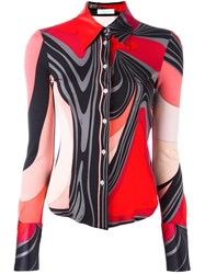 Emilio Pucci Vintage Printed Fitted Shirt Red