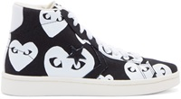 Comme Des Garcons Black Heart Print Converse Edition High Top Sneakers