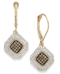 Wrapped In Love White And Champagne Diamond Leverback Earrings In 14K Gold 1 2 Ct. T.W.