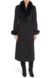Ellen Tracy Women's Wool Blend Maxi Coat With Genuine Fur Trim