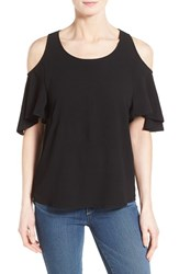 Women's Gibson Cold Shoulder Flutter Sleeve Top Black
