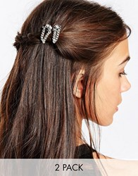 Katandbee Kat And George Two Pack Hair Grip With Skull And Chain Silver Clear Dark